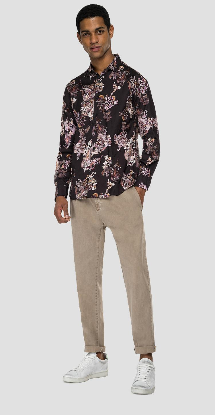 Cotton shirt with all-over print - Replay