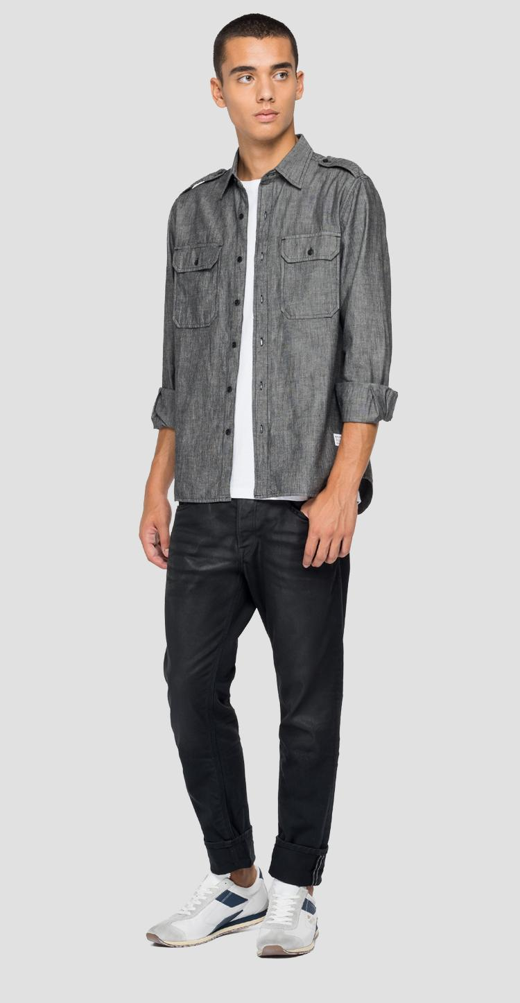 Denim shirt with pockets m4050 .000.226 80b