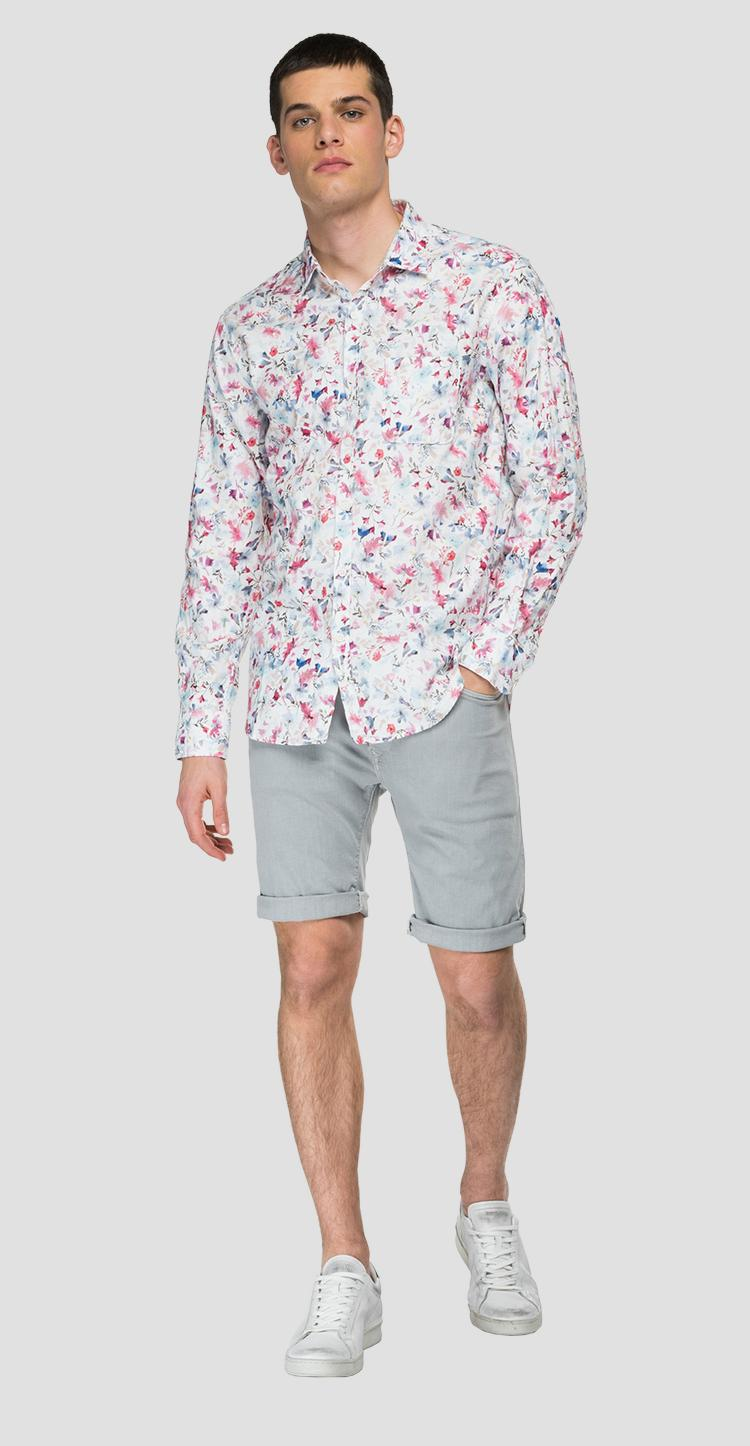 Shirt with all-over floral print - Replay