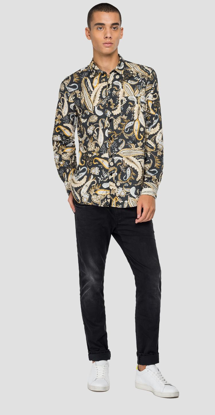 Jacquard shirt with paisley print m4053 .000.72212