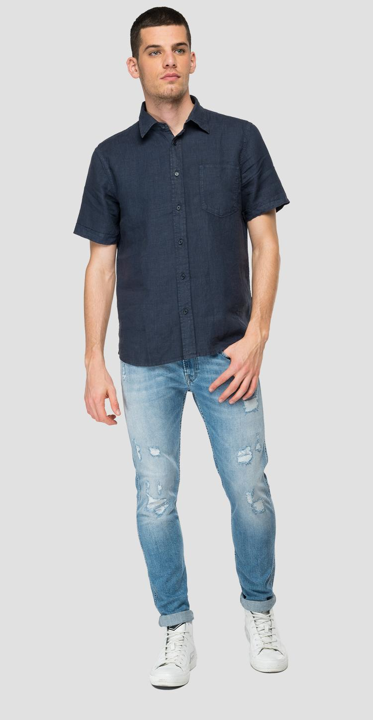 Linen shirt with pocket m4063 .000.81388n