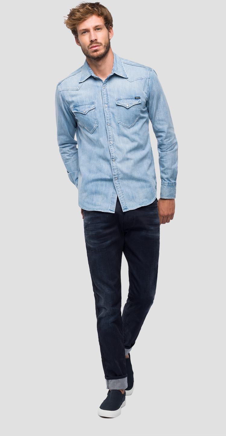 Denim shirt with double pocket m4981 .000.26c 475