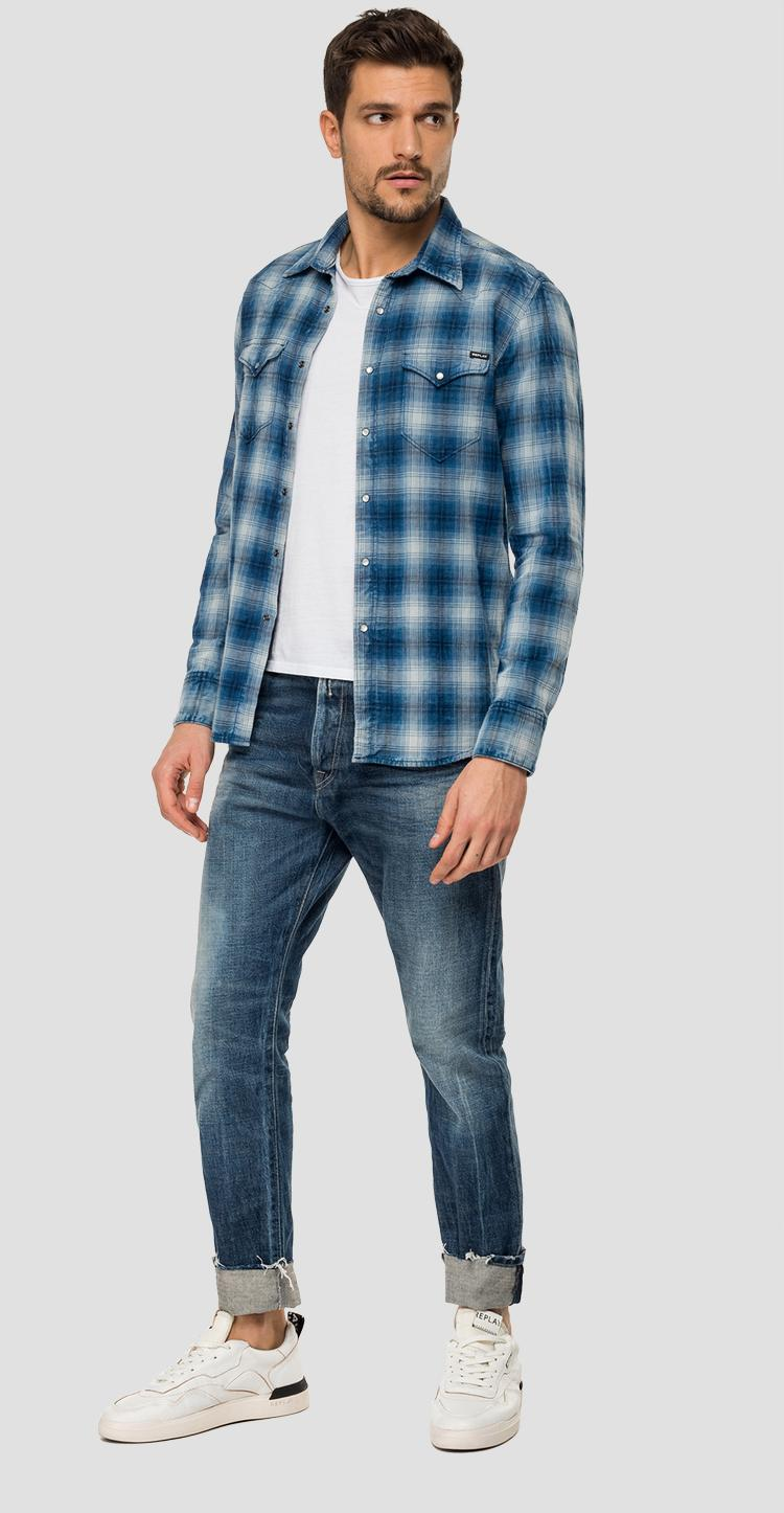 Checked shirt in dobby cotton - Replay