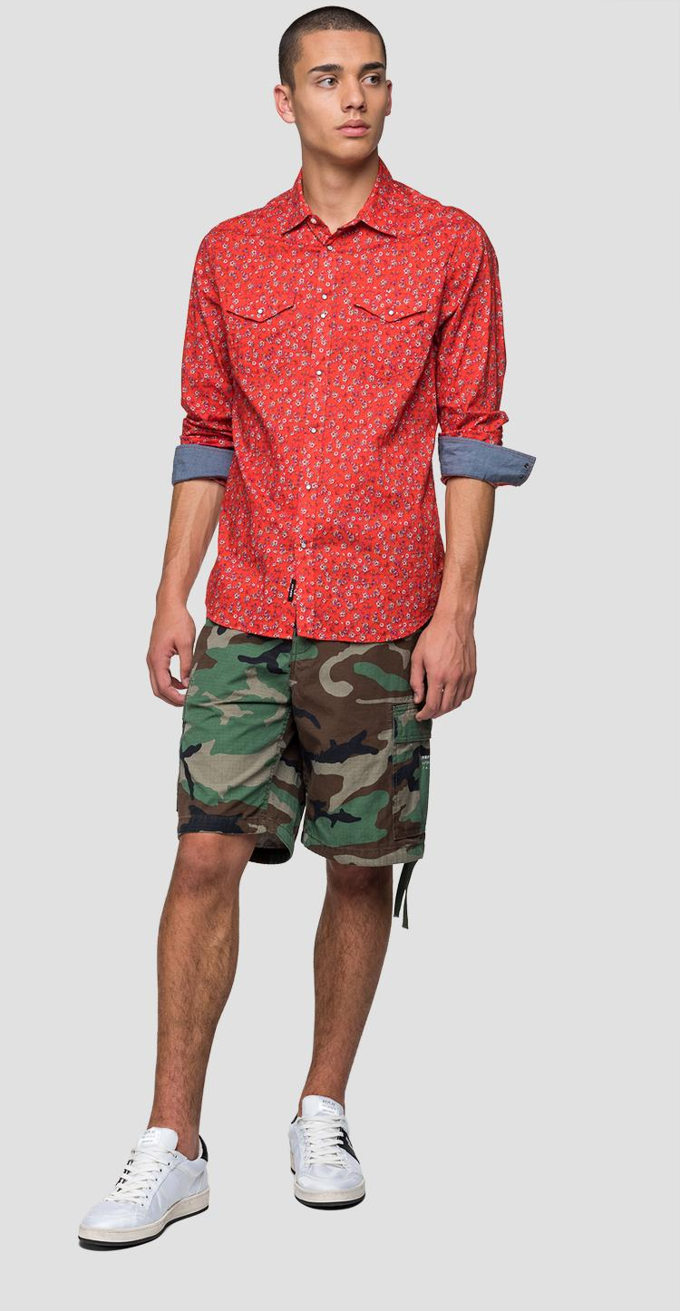 Shirt with floral print and pockets - Replay