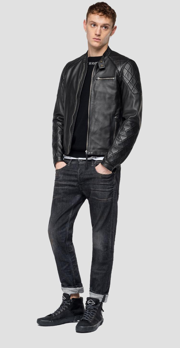 Leather biker jacket with diamond inserts - Replay