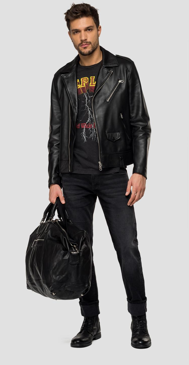 Leather biker jacket with lapels - Replay