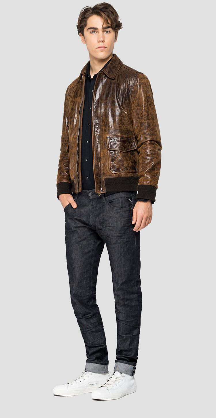 Leather biker jacket with vintage effect m8119 .000.83972