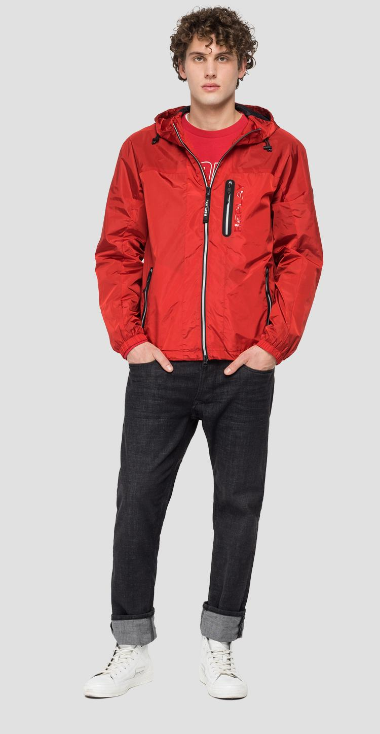 Recycled nylon jacket with hood and pockets m8136 .000.84050