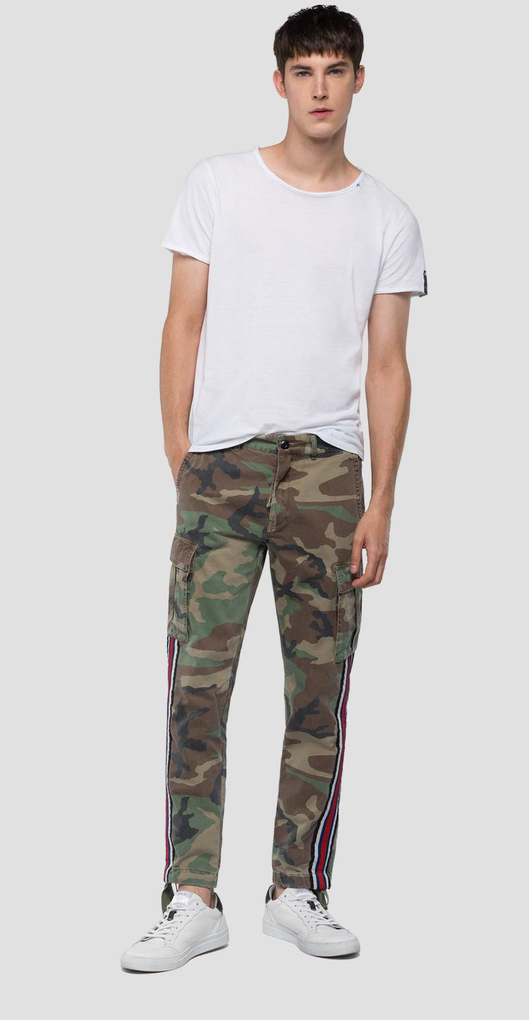 Slim fit cargo trousers camo print m9630 .000.71638
