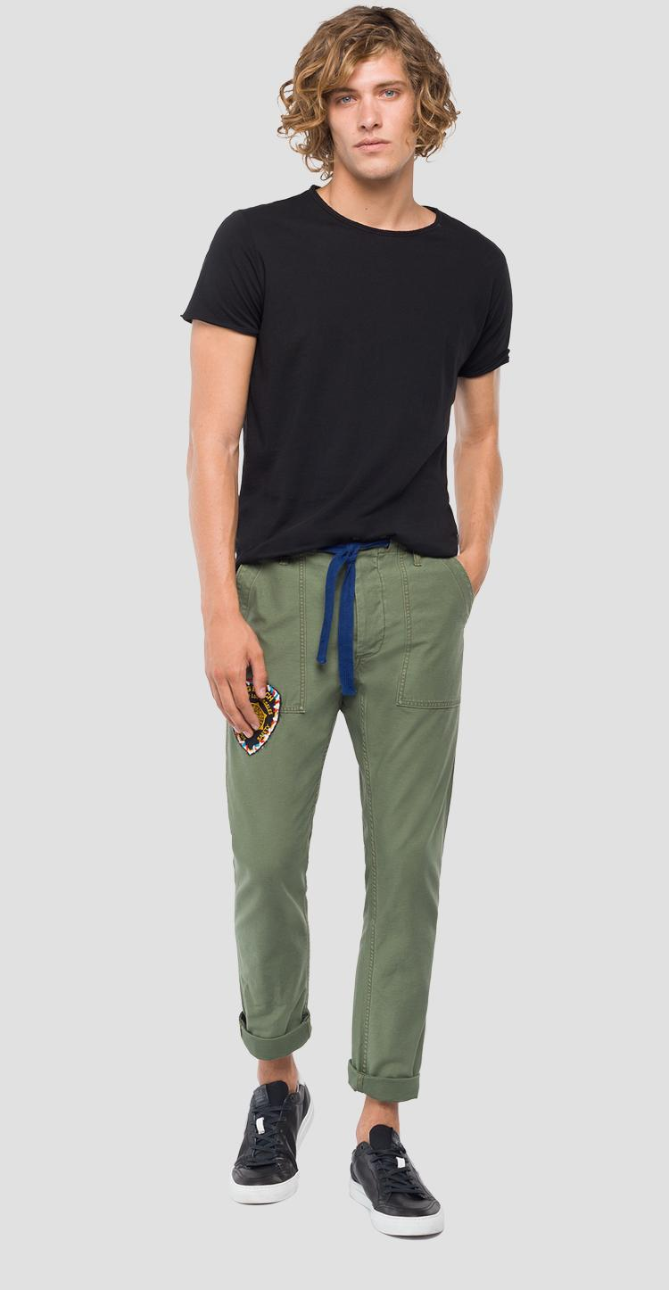 Slim fit cargo trousers with drawstring m9634 .000.83314