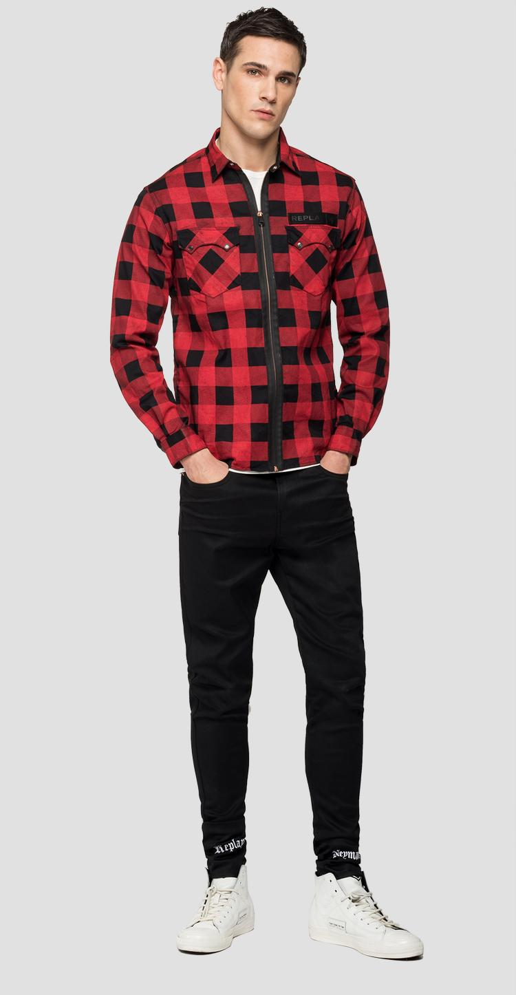 REPLAY NEYMAR NJR Capsule Collection chequered black denim shirt - Replay