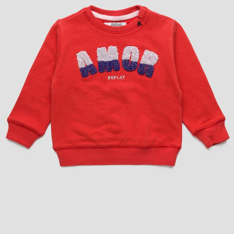 Cotton sweatshirt glitter embroidery on the chest- REPLAY&SONS