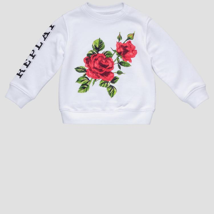 Replay sweatshirt with rose print pg2079.053.22852