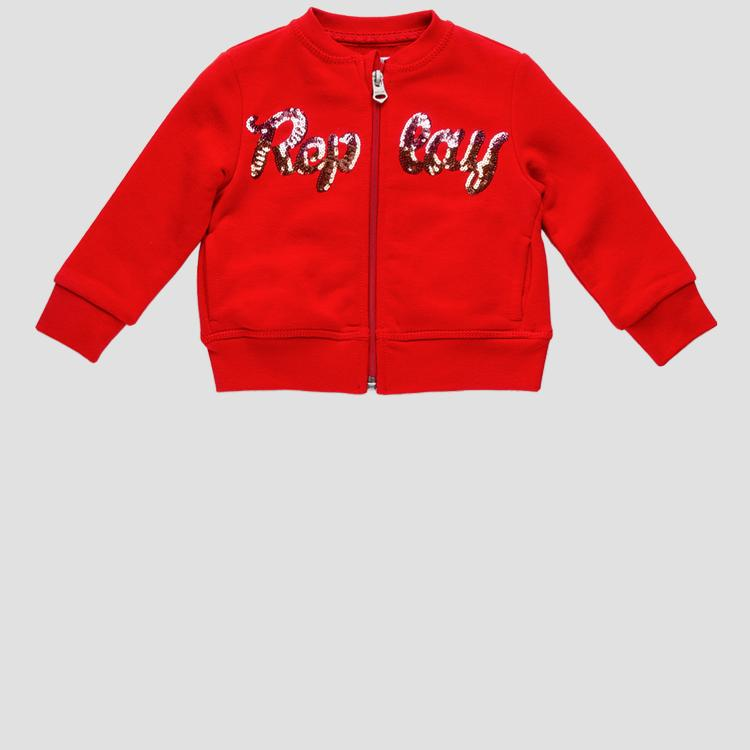 Replay sweatshirt with zipper and sequins- REPLAY&SONS