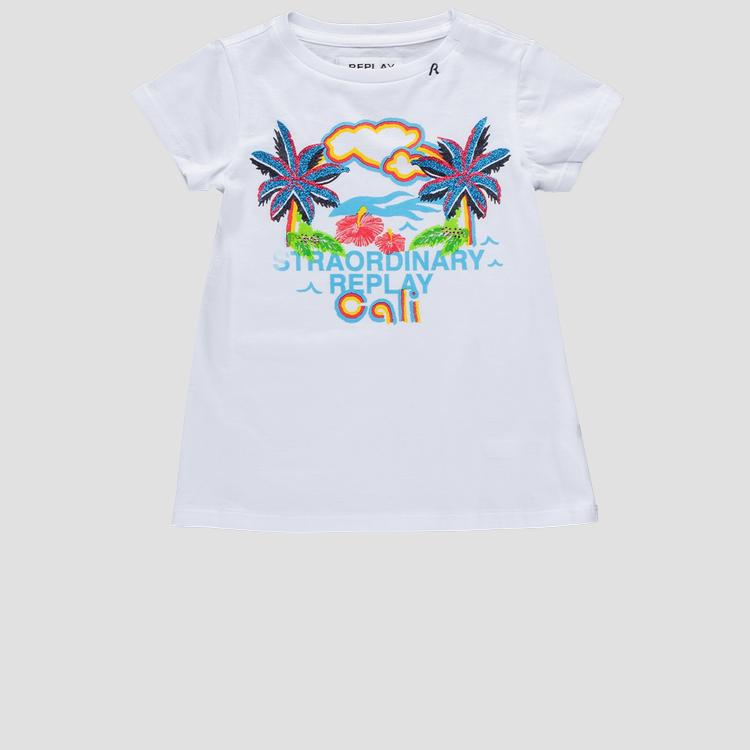 T-shirt with glitter Cali print pg3179.051.22038p