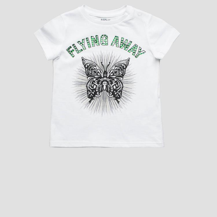 T-shirt with rhinestones- REPLAY&SONS