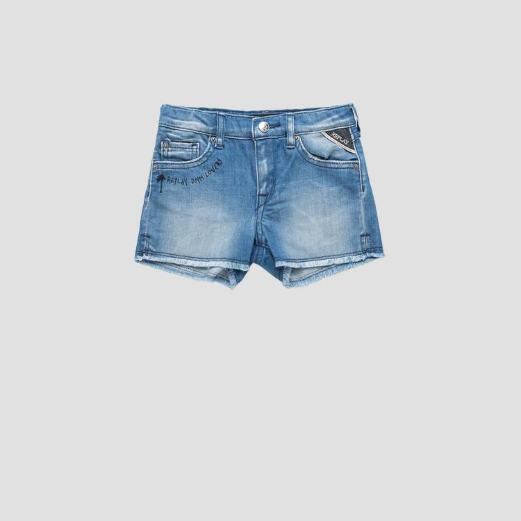 Denim shorts with raw cut- REPLAY&SONS