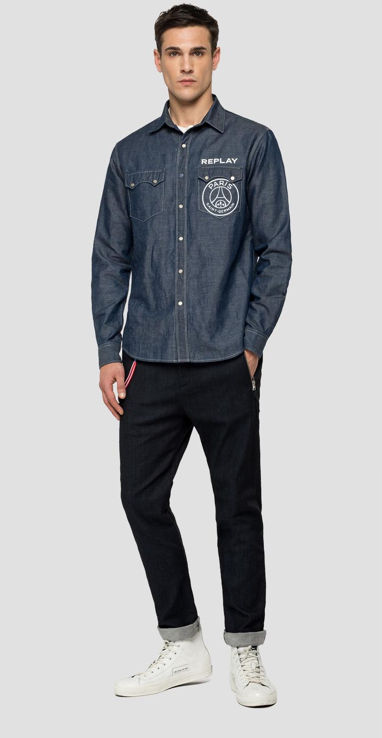 Replay PSG cotton and linen denim shirt. psg422.000.180 g07