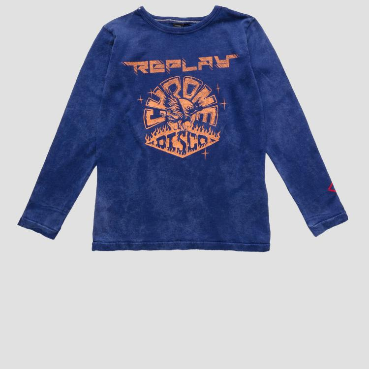Crewneck t-shirt with marble effect sb7110.052.22658m