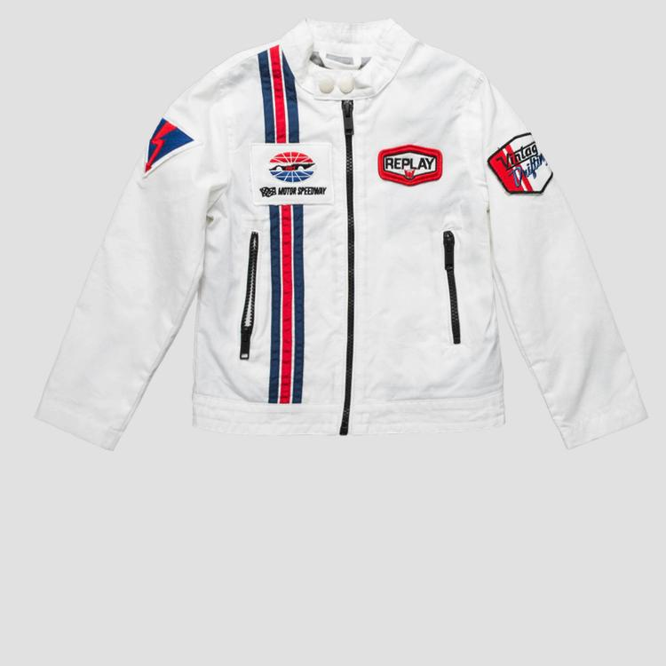 Biker jacket with contrasting-coloured stripes- REPLAY&SONS