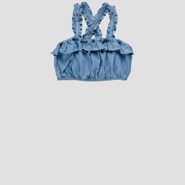 Denim cami top with ruffles sg1708.050.50103