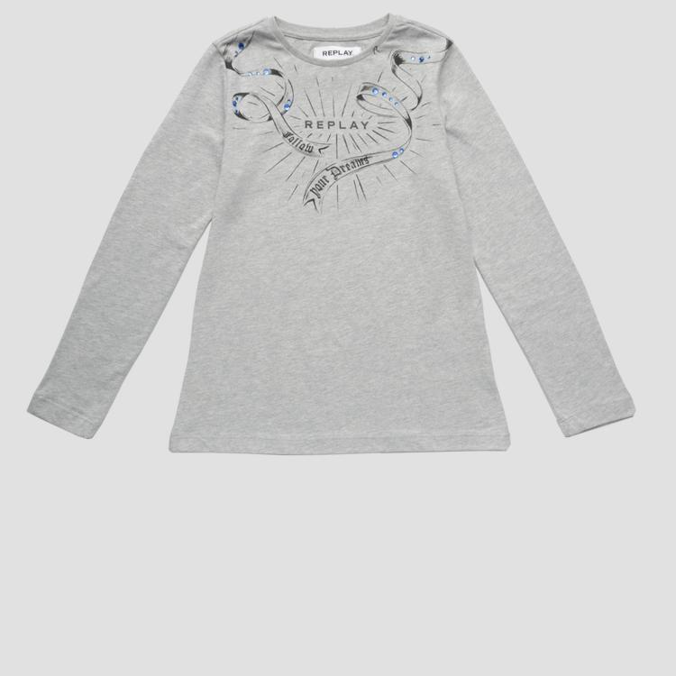 Long-sleeved t-shirt with rhinestones sg7064.057.22784