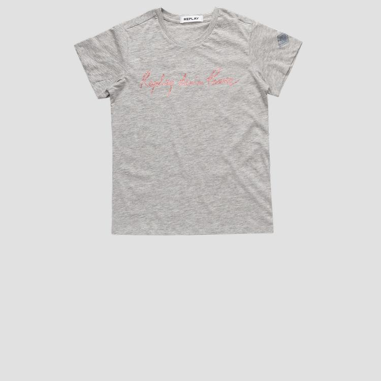 T-shirt with REPLAY DENIM POWER glitter print sg7479.052.20994