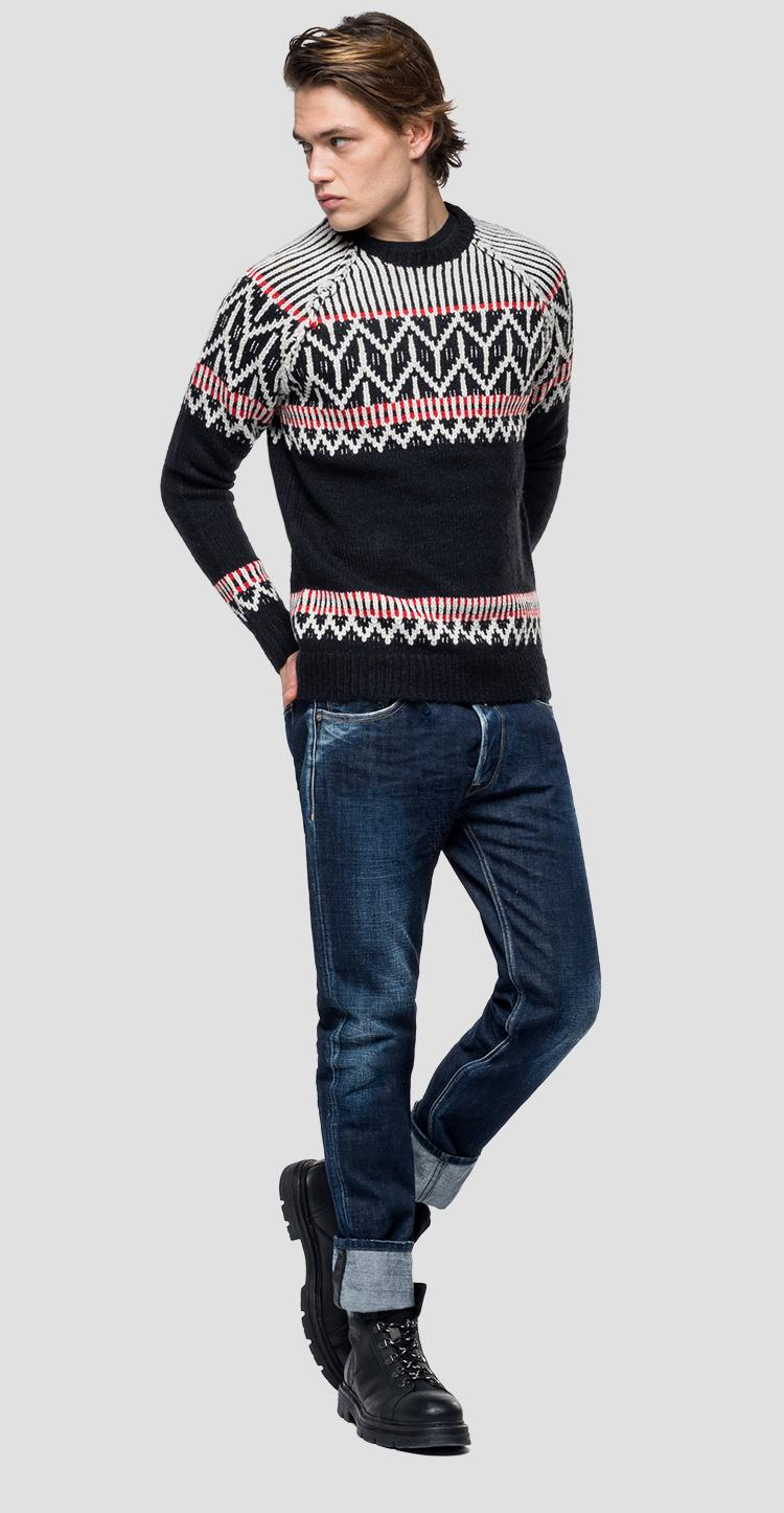 Sweater with geometrical marquetry uk3073.000.g22236