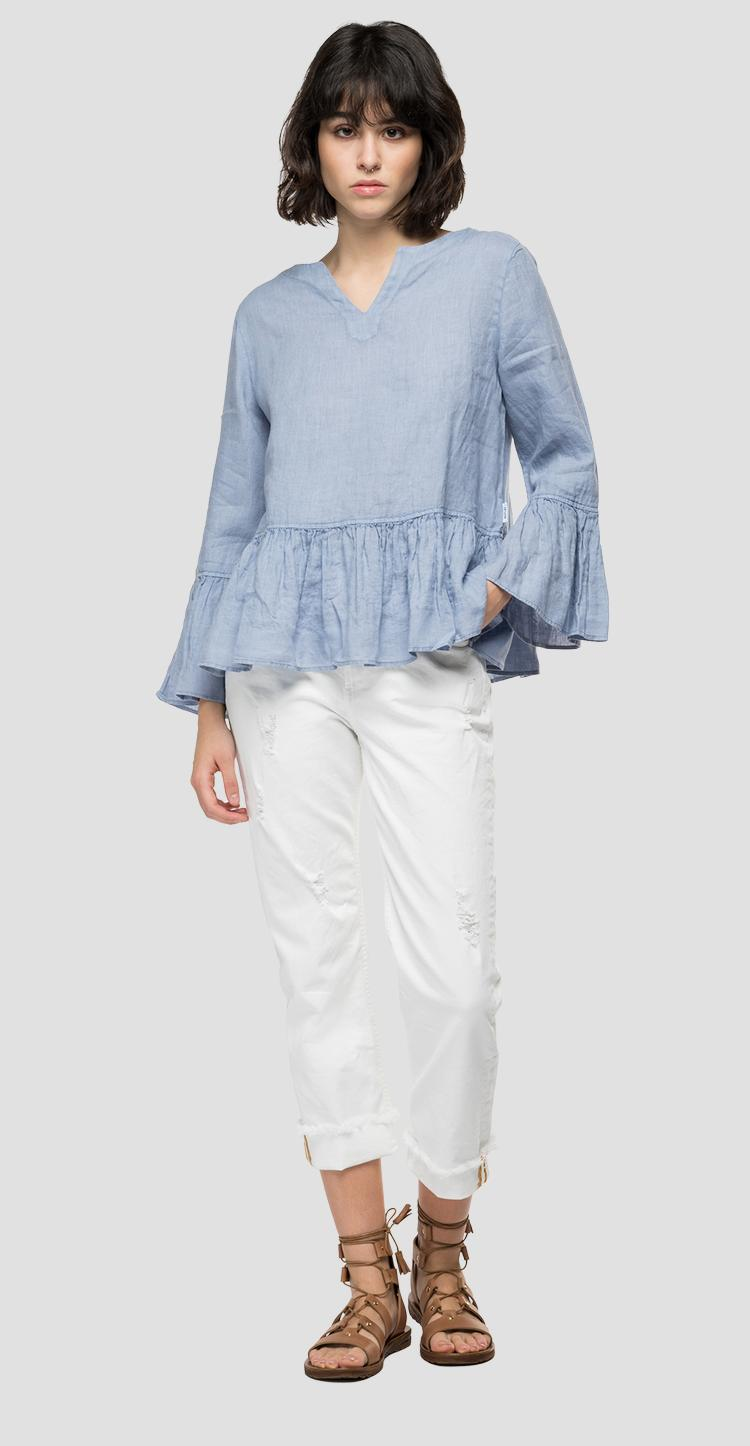 Essential linen shirt with frills w2047 .000.84076g