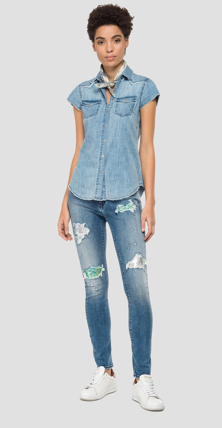 Denim shirt with fringed details w2282 .000.160 698
