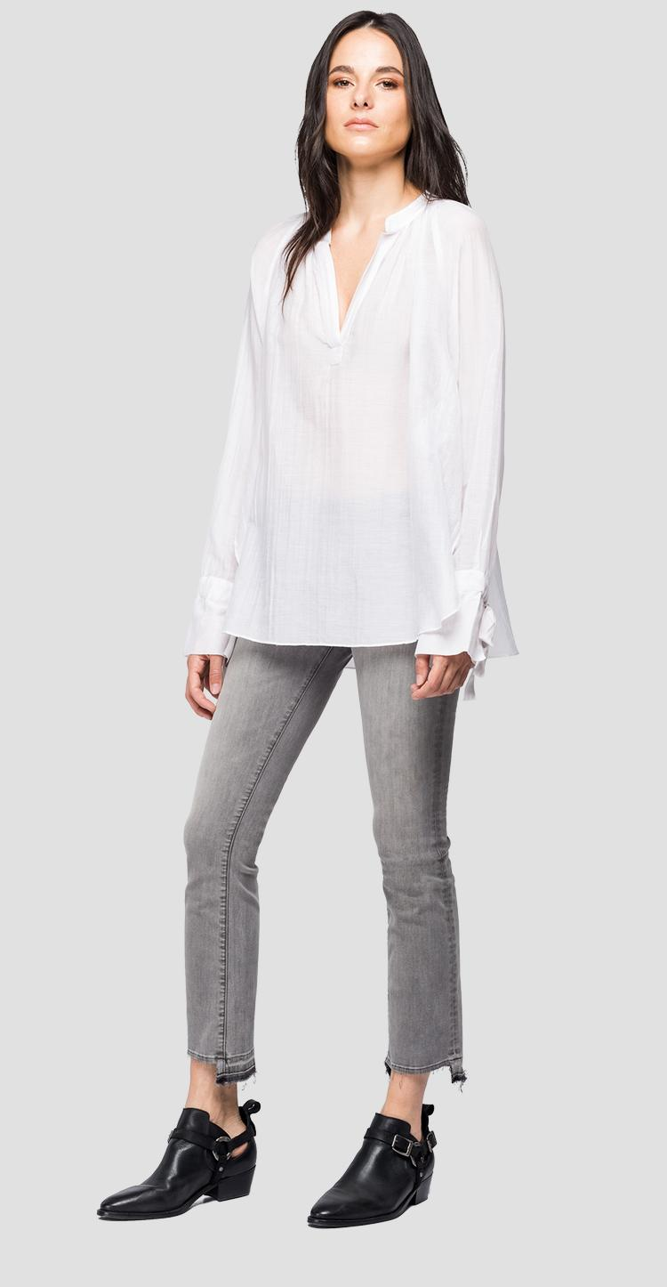 Cotton and silk blouse with V-shaped opening - Replay