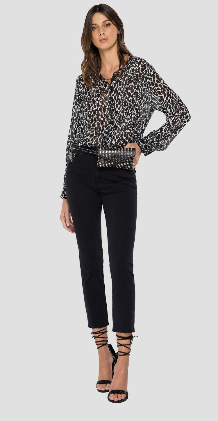 Georgette shirt with all-over print w2323a.000.72324