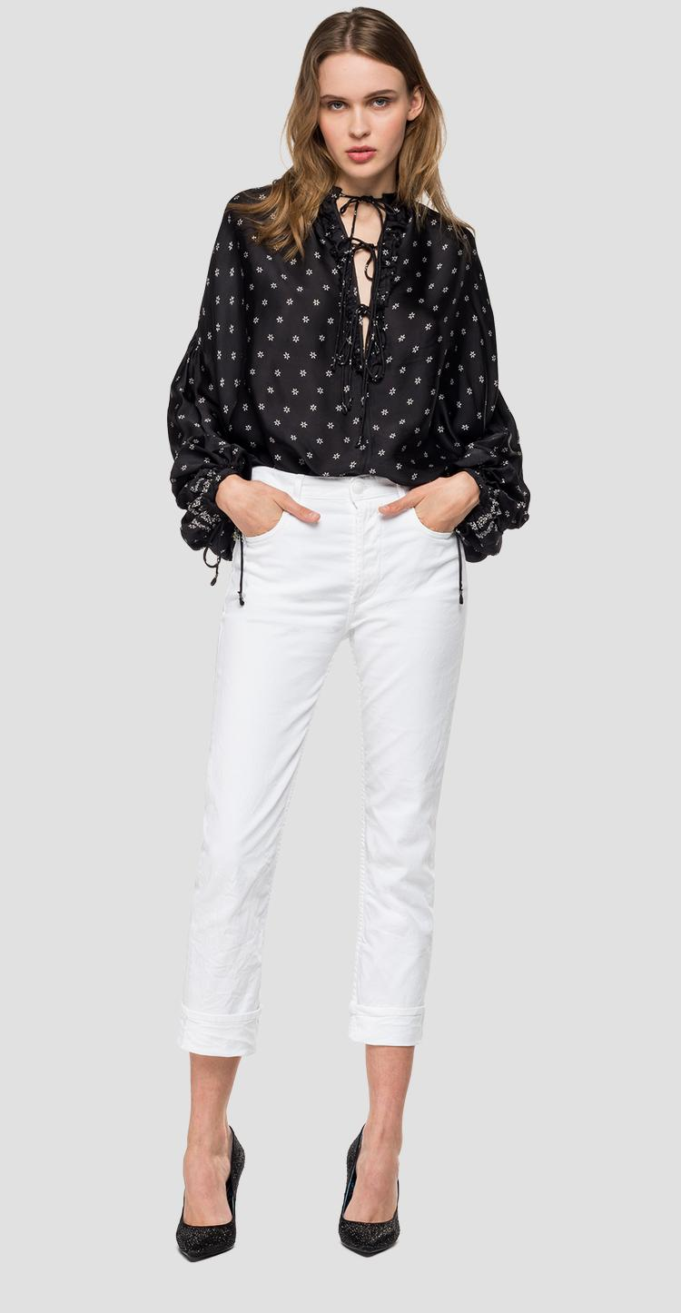 Blouse with all-over floral print - Replay