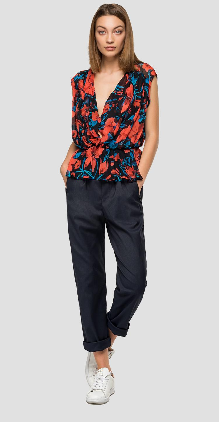 Viscose shirt with floral print - Replay