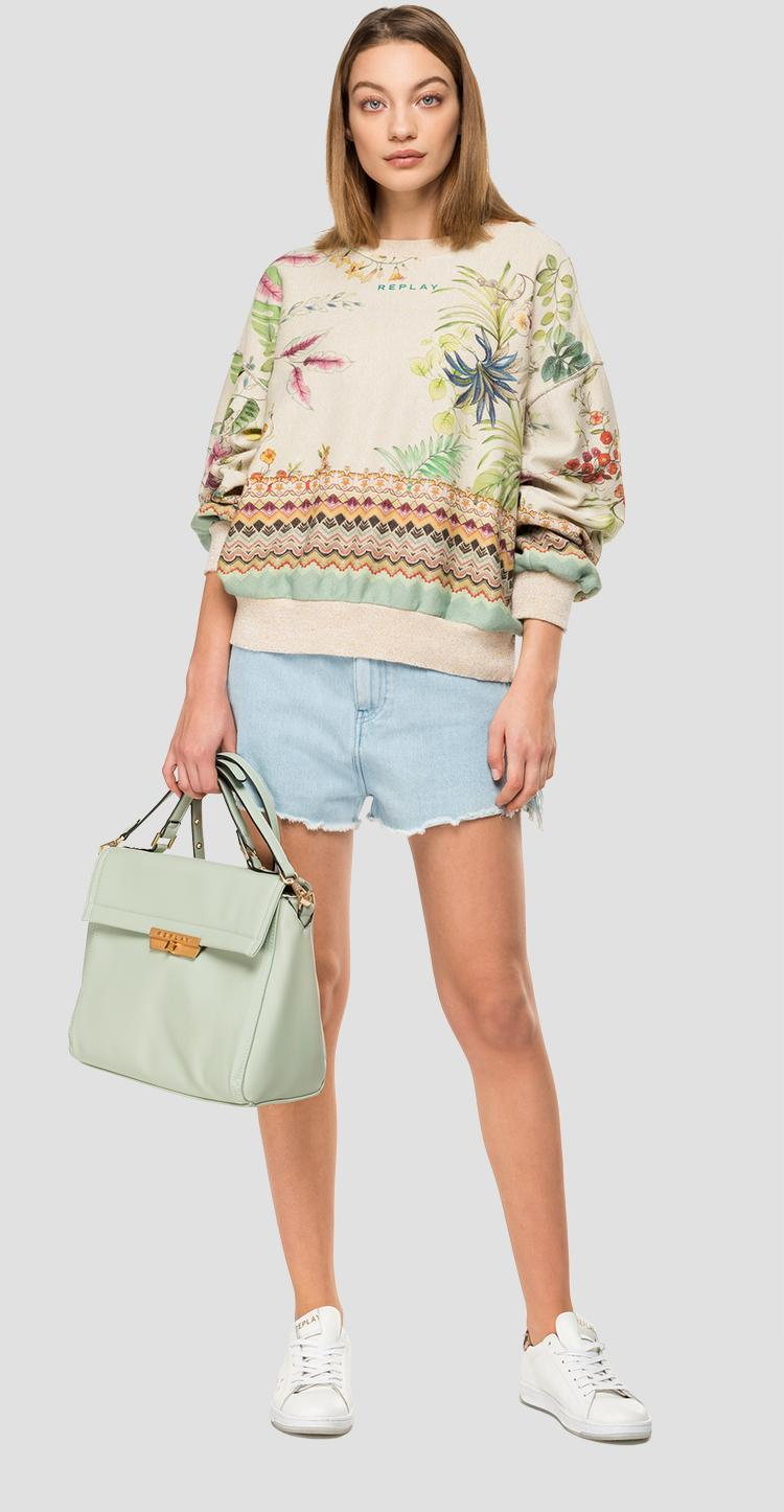 Floral sweatshirt with lurex w3114b.000.72050