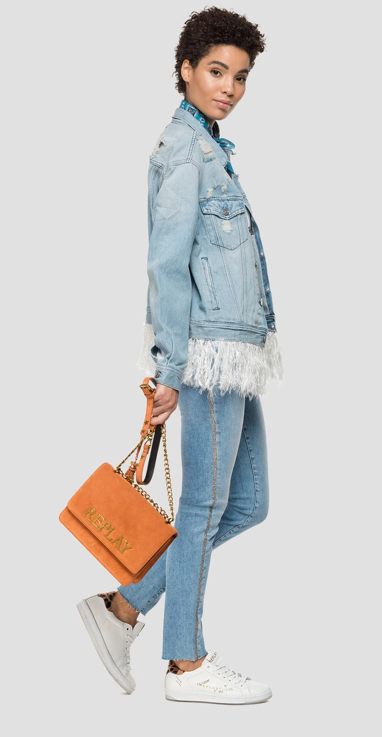 Denim jacket with feathers - Replay