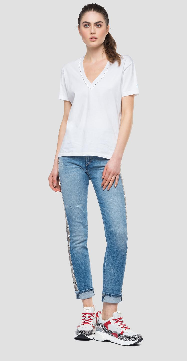 V-neck t-shirt with micro studs w3239 .000.22038p