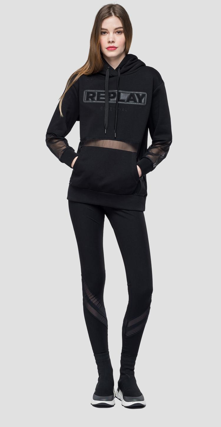 Oversized sweatshirt with transparent inserts - Replay