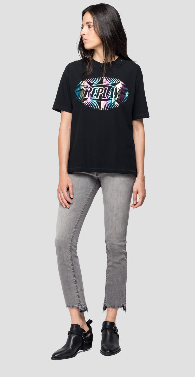 T-shirt with holographic print w3307 .000.22660