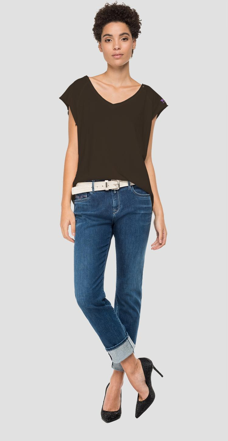 V-neck t-shirt with cap sleeves w3321 .000.22830g
