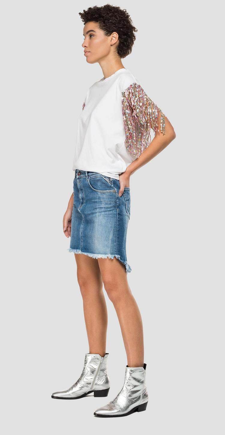 T-shirt with fringes and sequins w3325 .000.22038p