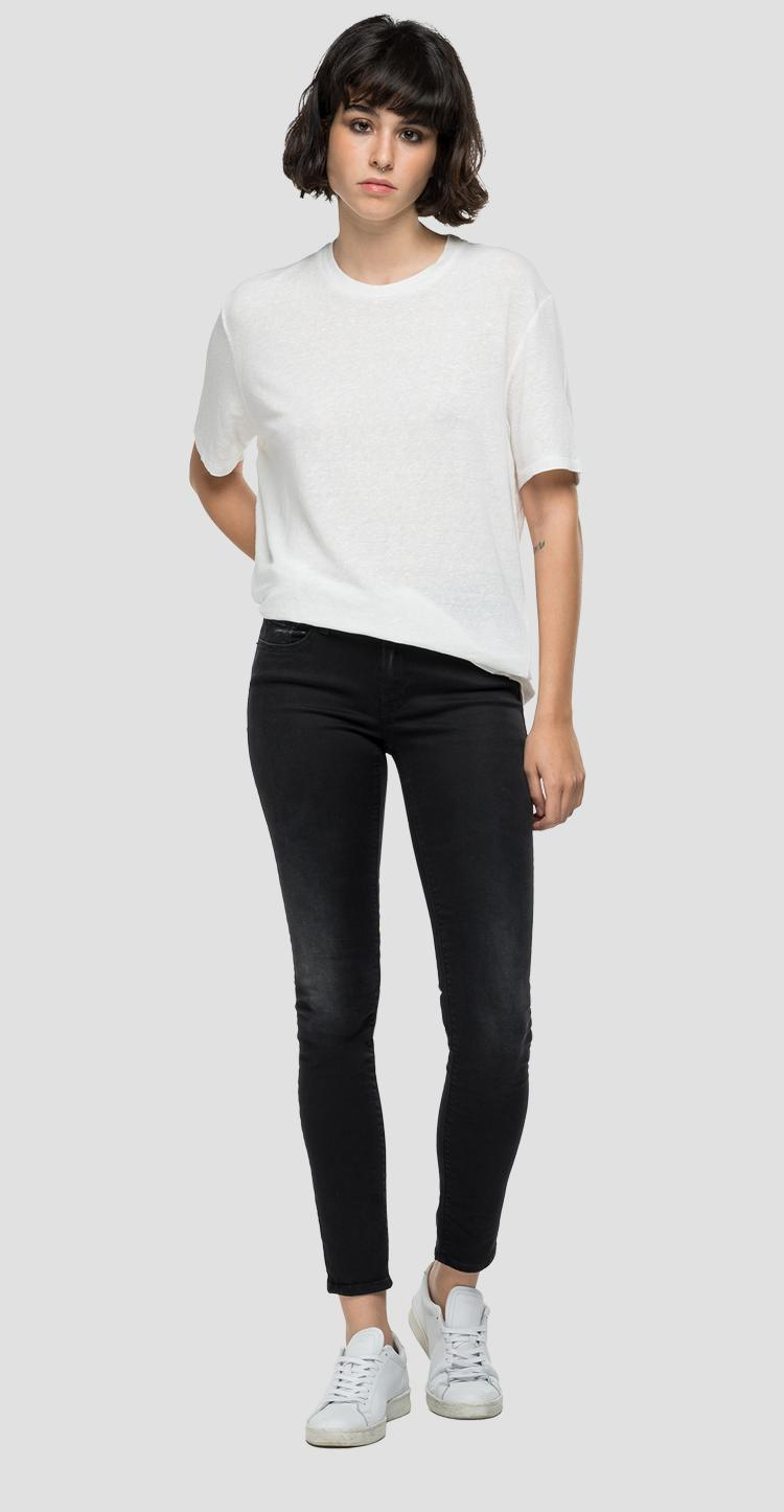 REPLAY NOT ORDINARY PEOPLE t-shirt in stretch linen w3329 .000.23101p