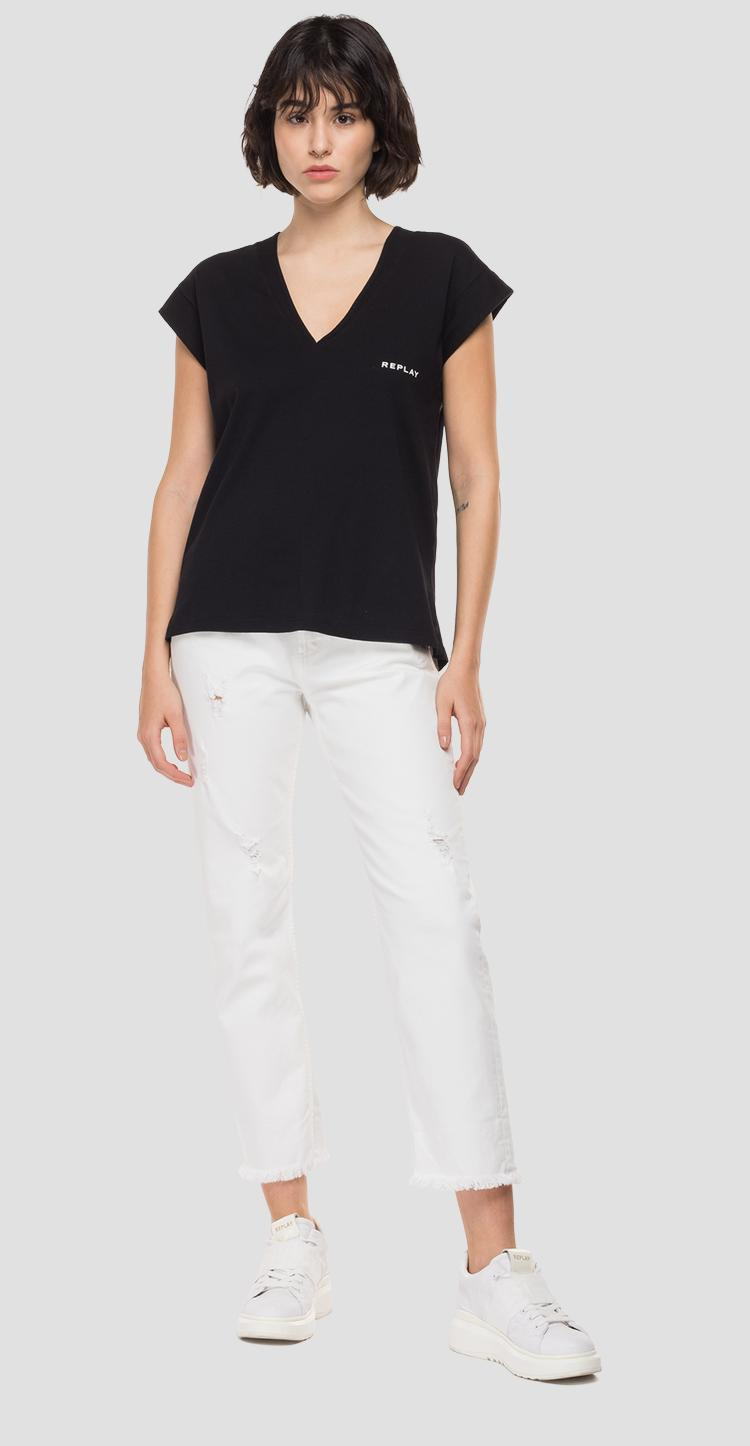 V-neck t-shirt with REPLAY print w3338c.000.23168p