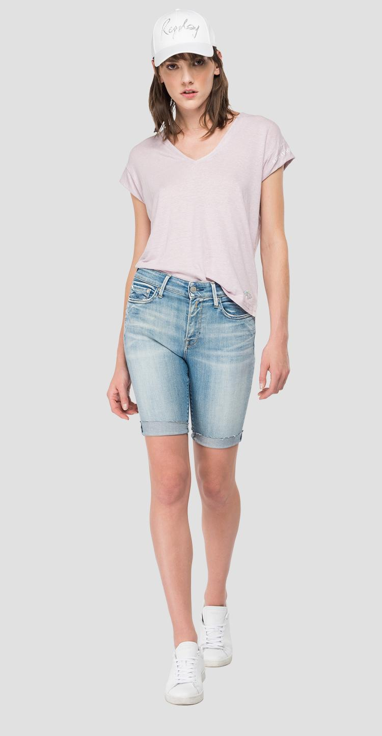 Linen t-shirt with V-neck w3338 .000.23101p