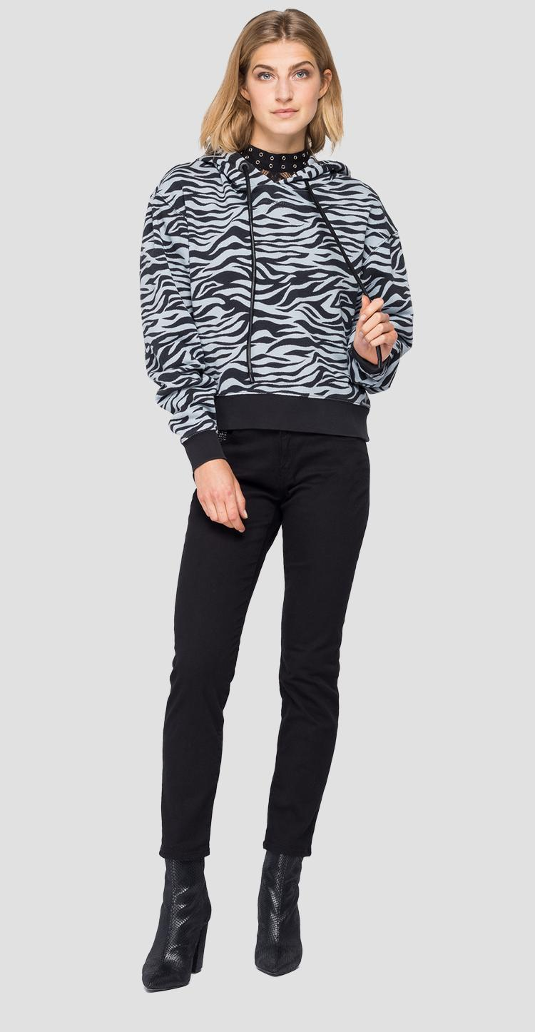 Hoodie with animalier print w3548a.000.72190