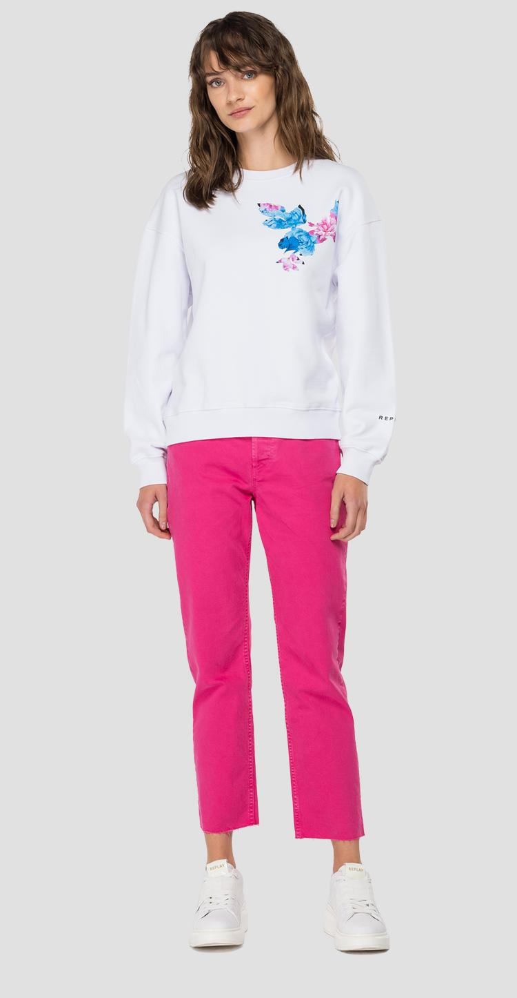Crewneck slim fit ROSE LABEL sweatshirt w3551f.000.22890p