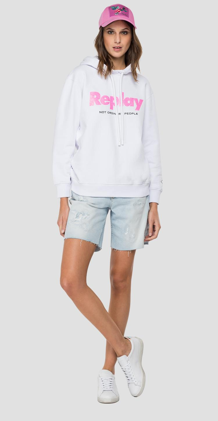 REPLAY hoodie with glitter print w3554a.000.22890p
