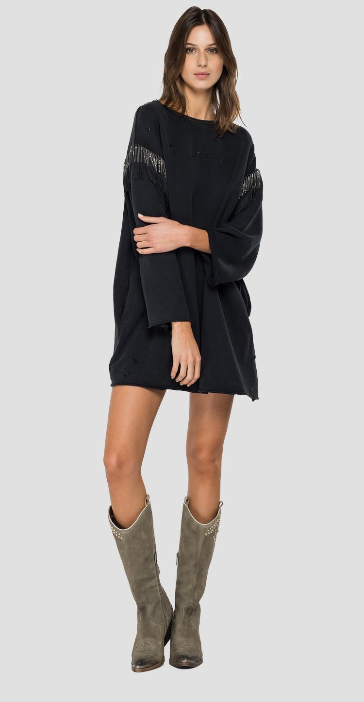 Oversized long sweatshirt with fringes w3925e.000.22738lm