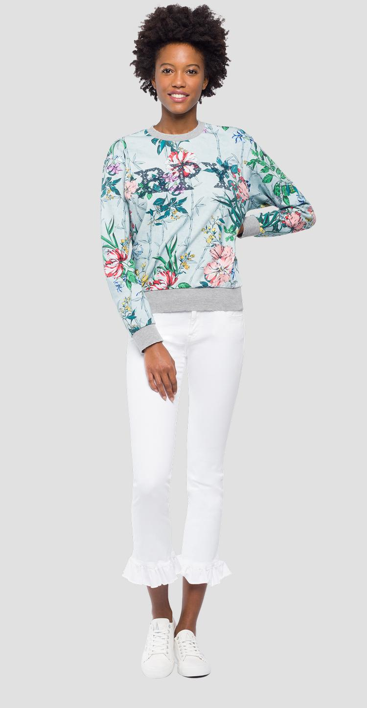 Sweater with flowers print w3971h.000.71770