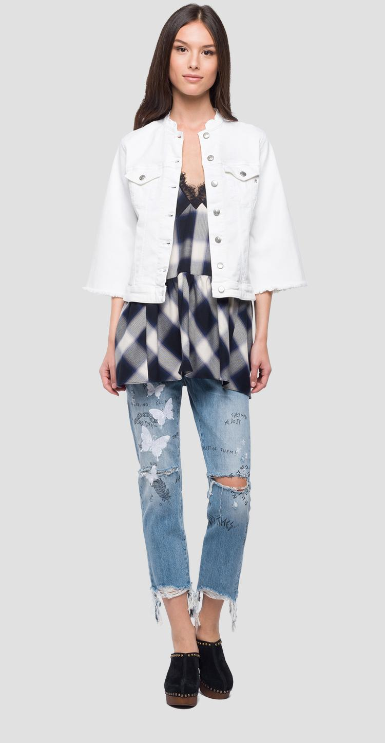 Denim jacket with bell sleeves w7408 .000.8064101